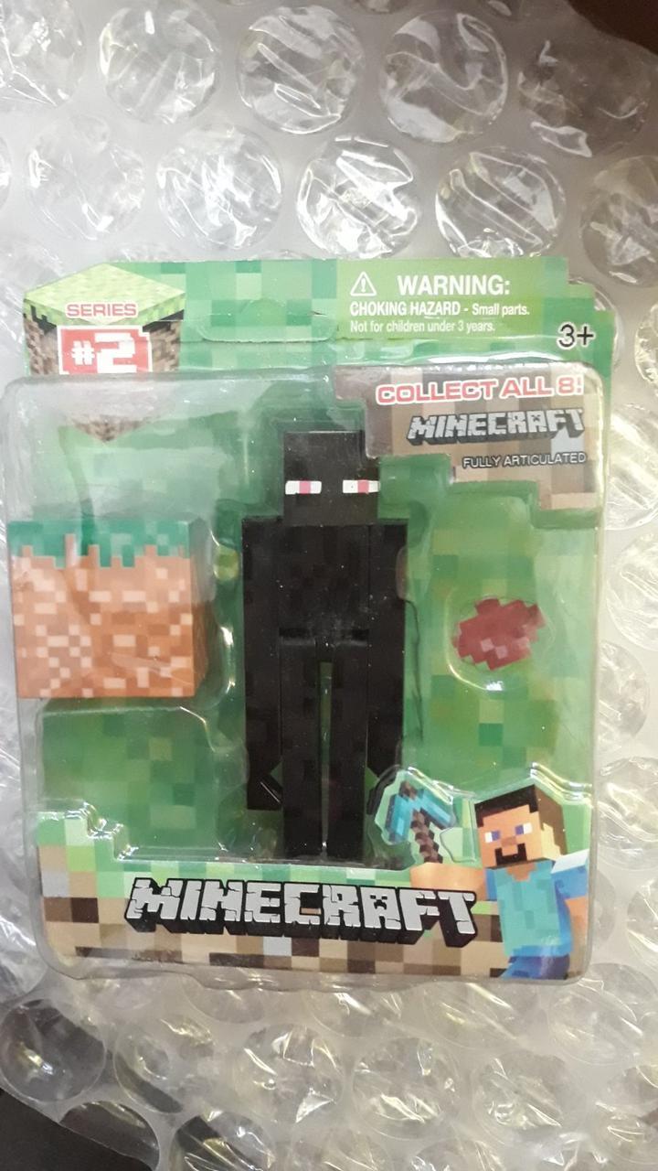 АНАЛОГ Фигурка Эндермен с блоком Майнкрафт Minecraft Core Enderman Figure Pack ендермен эндэрмэн