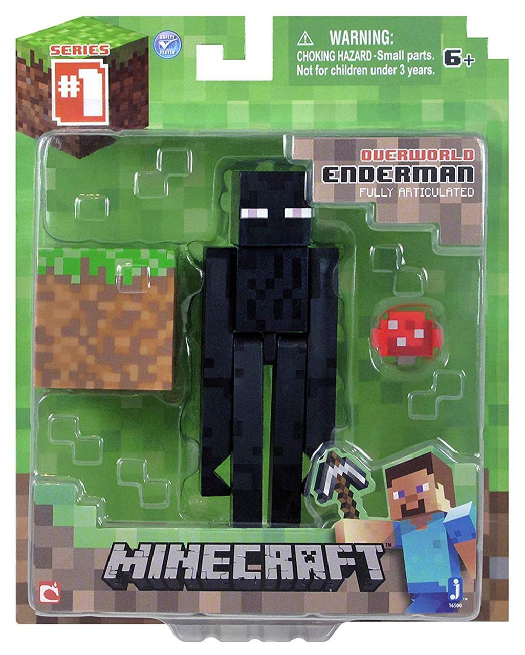 Фігурка Эндермен з блоком Майнкрафт Minecraft Core Enderman Figure Pack оригінал Jazwares
