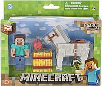 Стив и белый конь Майнкрафт Minecraft Steve with White Horse белая лошадь с конем лошадью оригинал Jazwares