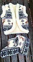 Жилетка детская на пуговицы олени с орнаментом 3-4