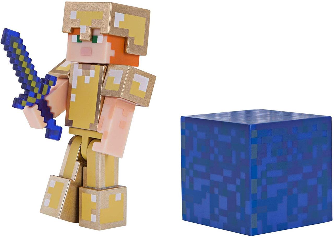 Фигурка Алекс в золотой броне Minecraft Alex in Gold Armor Figure Pack оригинал