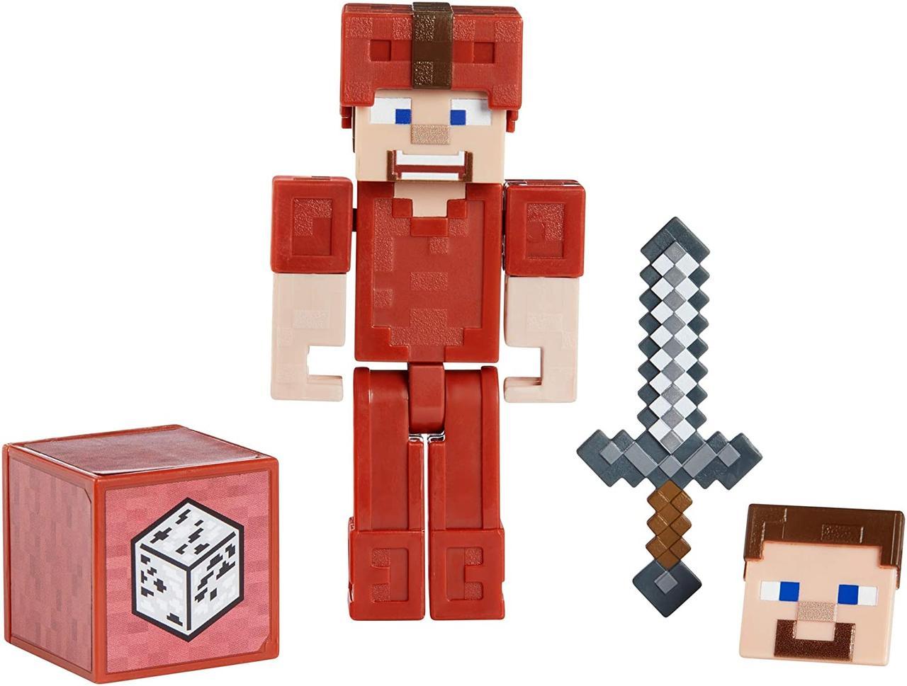 Фигурка Стив в кожаной красной броне с блоком и мечом Майнкрафт Minecraft Earth Steve in Red Leather оригинал