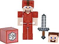 Фигурка Стив в кожаной красной броне с блоком и мечом Майнкрафт Minecraft Earth Steve in Red Leather оригинал, фото 1