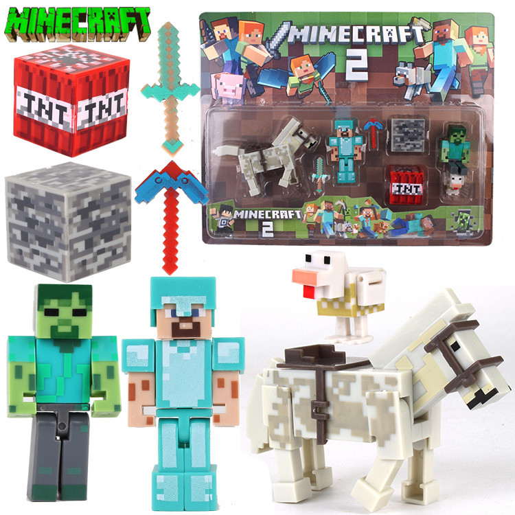 АНАЛОГ Майнкрафт набор Фигурок Стив в алмазной броне зомби лошадь фигурки Minecraft Diamond Steve Action