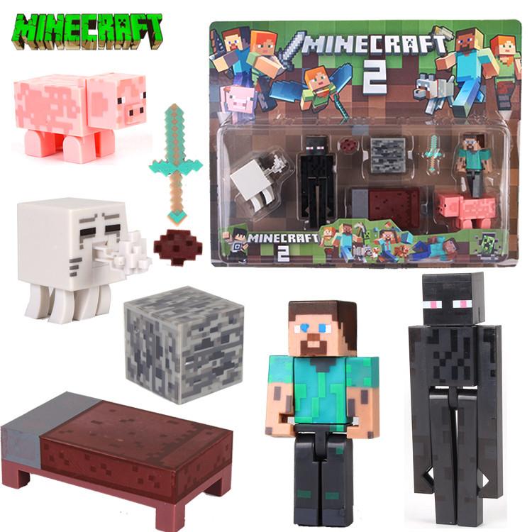 АНАЛОГ Майнкрафт набір Фігурок Стів з ліжком эндермен газд фігурки Minecraft Diamond Steve Enderman Action