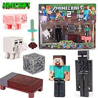 АНАЛОГ Майнкрафт набор Фигурок Стив с кроватью эндермен газд фигурки Minecraft Diamond Steve Enderman Action, фото 1