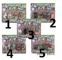 АНАЛОГ Майнкрафт комплект наборов 5шт Фигурок как на фото Стив голем эндермен газд фигурки Minecraft Steve, фото 1