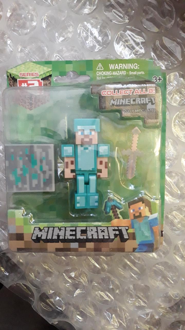 Аналог Стив в алмазной броне фигурка Майнкрафт Minecraft Diamond Steve Action