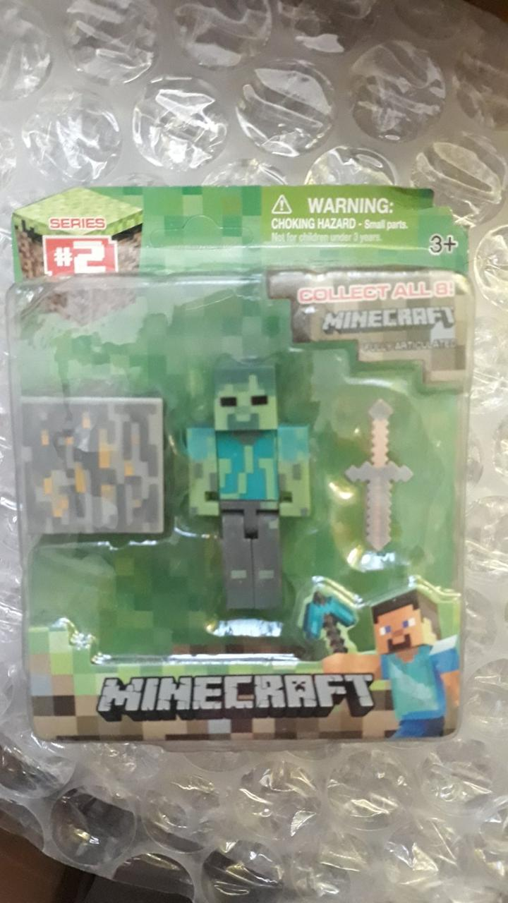 АНАЛОГ Фигурка Зомби с блоком Майнкрафт Minecraft Core Zombie Figure Pack