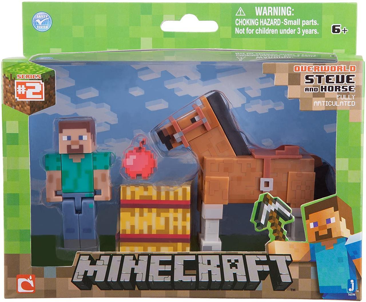 Стів і коричневий кінь Майнкрафт Minecraft with Steve Chestnut Brown Horse з конем оригінал Jazwares
