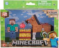 Стів і коричневий кінь Майнкрафт Minecraft with Steve Chestnut Brown Horse з конем оригінал Jazwares, фото 1