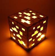 Ночная лампа блок золотой Майнкрафт Светильник Куб Minecraft LED Orange gold ночник майкравт