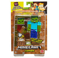Фігурка Зомбі Майнкрафт Minecraft Comic Maker Zombie Mode Action Figure оригінал Mattel, фото 1
