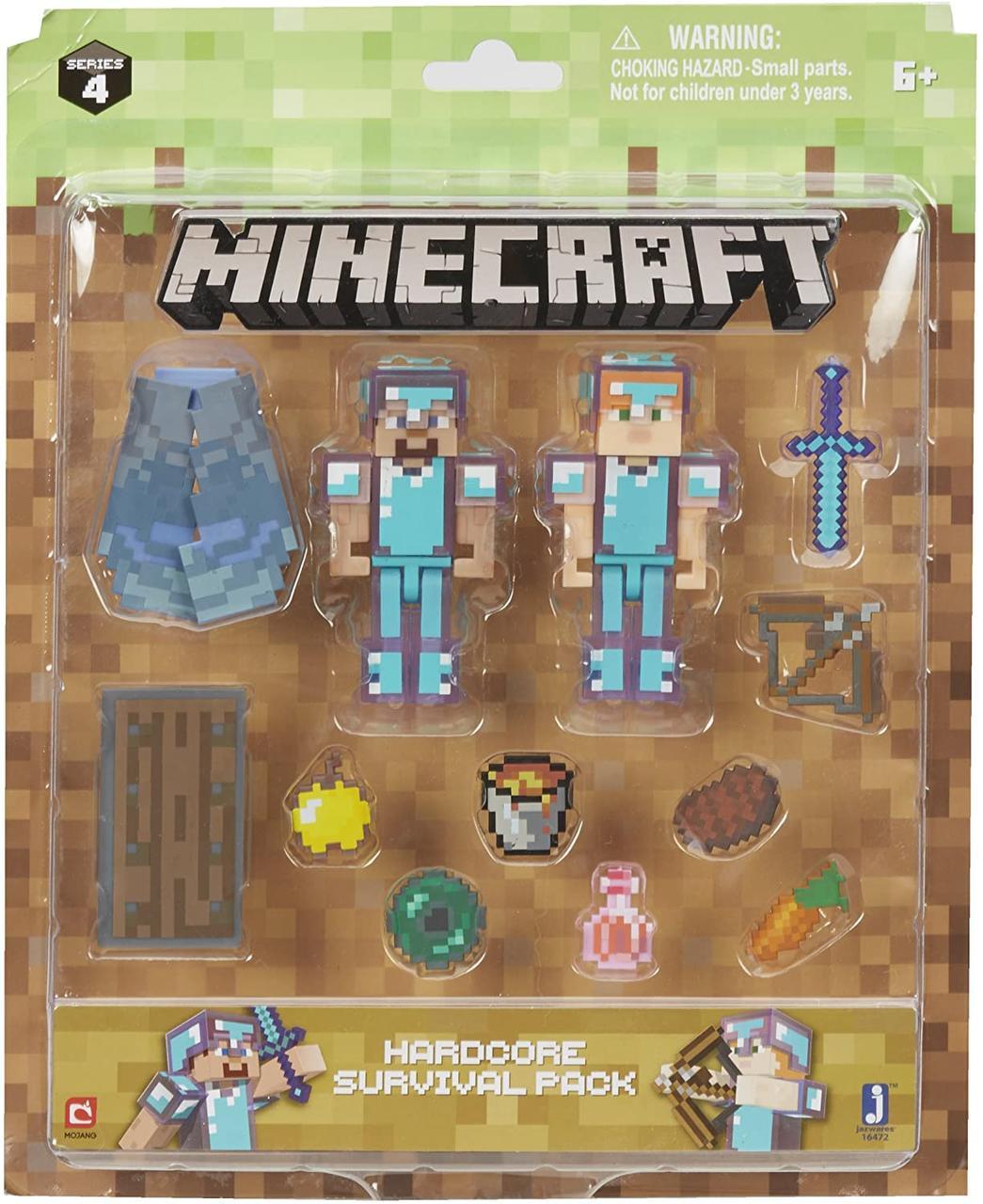 Фігурки для виживання Майнкрафт Стів і Алекс в алмазній броні Minecraft Steve & Alex Hardcore Survival Pack