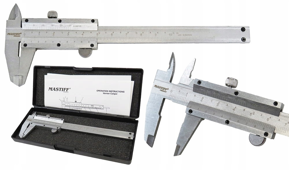 Штангенциркуль Mastiff ШЦ-100 (0-100 мм; ±0,02 мм) с глубиномером. Германия
