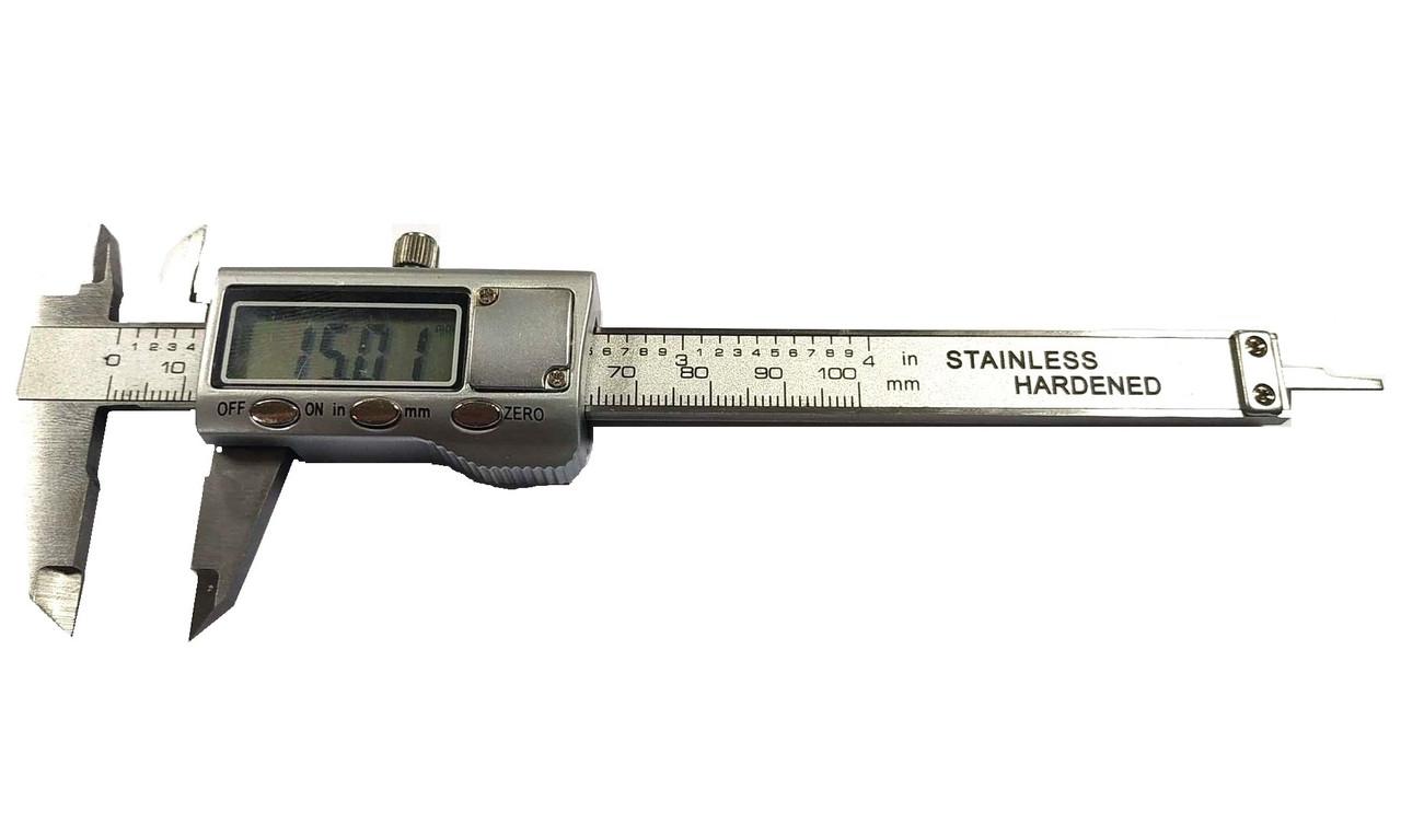 Штангенциркуль электронный VERNIER 100 (T304B. W-1210М) металический D - 100 мм, точность 0,01 мм, с бегунком