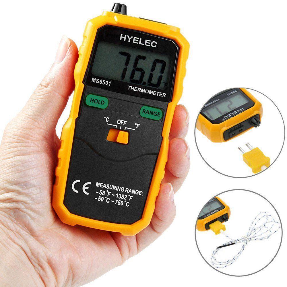 Цифровой термометр HYELEC MS6501 с термопарой К-типа (от -50°C до +750°C) и датчиком температуры воздуха