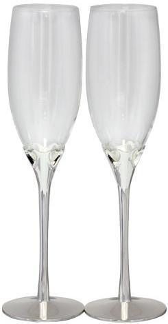 Набор 2 фужера Wedding Hearts для шампанского 220мл, стекло+металл