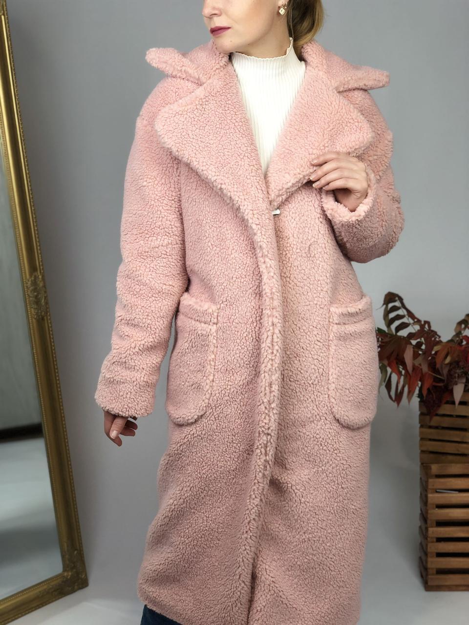 Женская шуба из эко меха Скайлер розовая