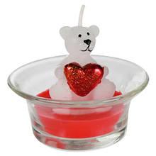 """Свічка """"Білий ведмедик з серцем"""" червона"""