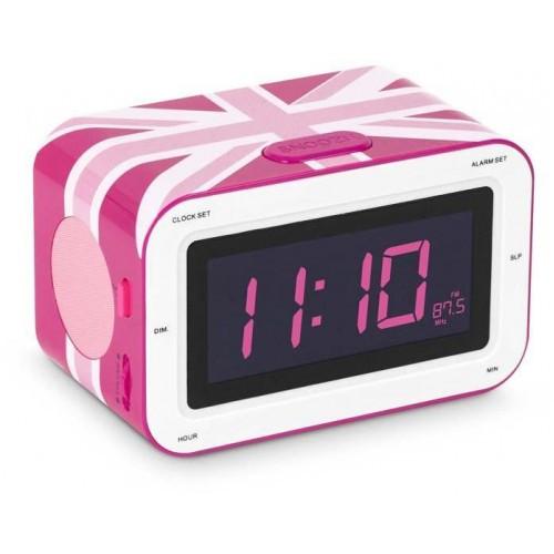 """Радіоприймач з будильником """"Британський прапор"""", рожевий"""