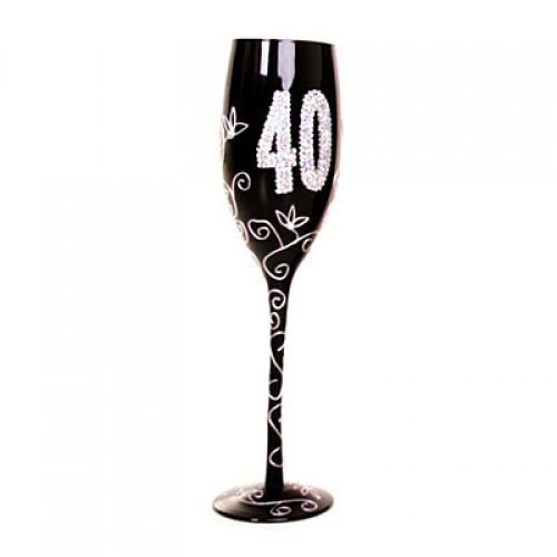 """Бокал для шампанского """"40"""", черный"""