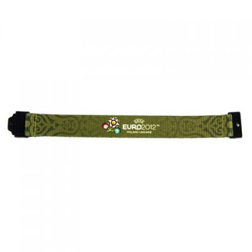 """Браслет текстильний """"Euro 2012"""", зеленый, средний"""