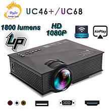 Мультимедийный Wi-Fi  проектор UNIC UC68 BK, домашний кинотеатр 1800 люмен,светодиодный проектор с HD 1080p,