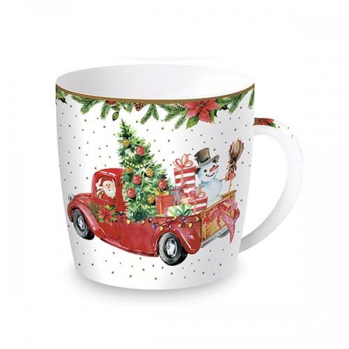 "Чашка ""Время Рождества Санта и Снеговик"""
