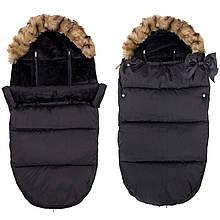Детский конверт для коляски, санок 4 в 1 Springos SB0003 черный. Детский спальный мешок для коляски -