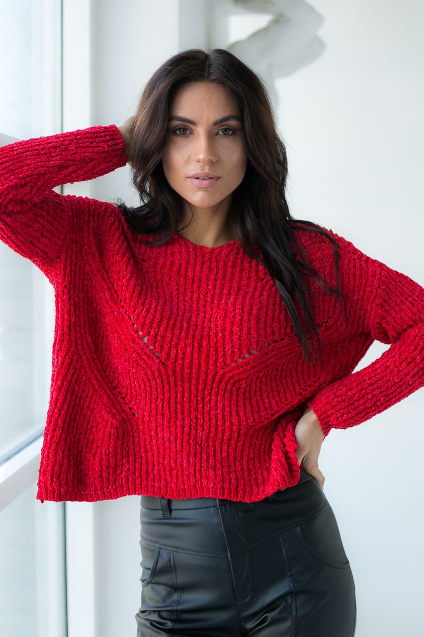 Плюшевый пуловер LUREX - красный цвет, S (есть размеры)
