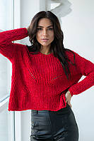 Плюшевый пуловер LUREX - красный цвет, S (есть размеры), фото 1