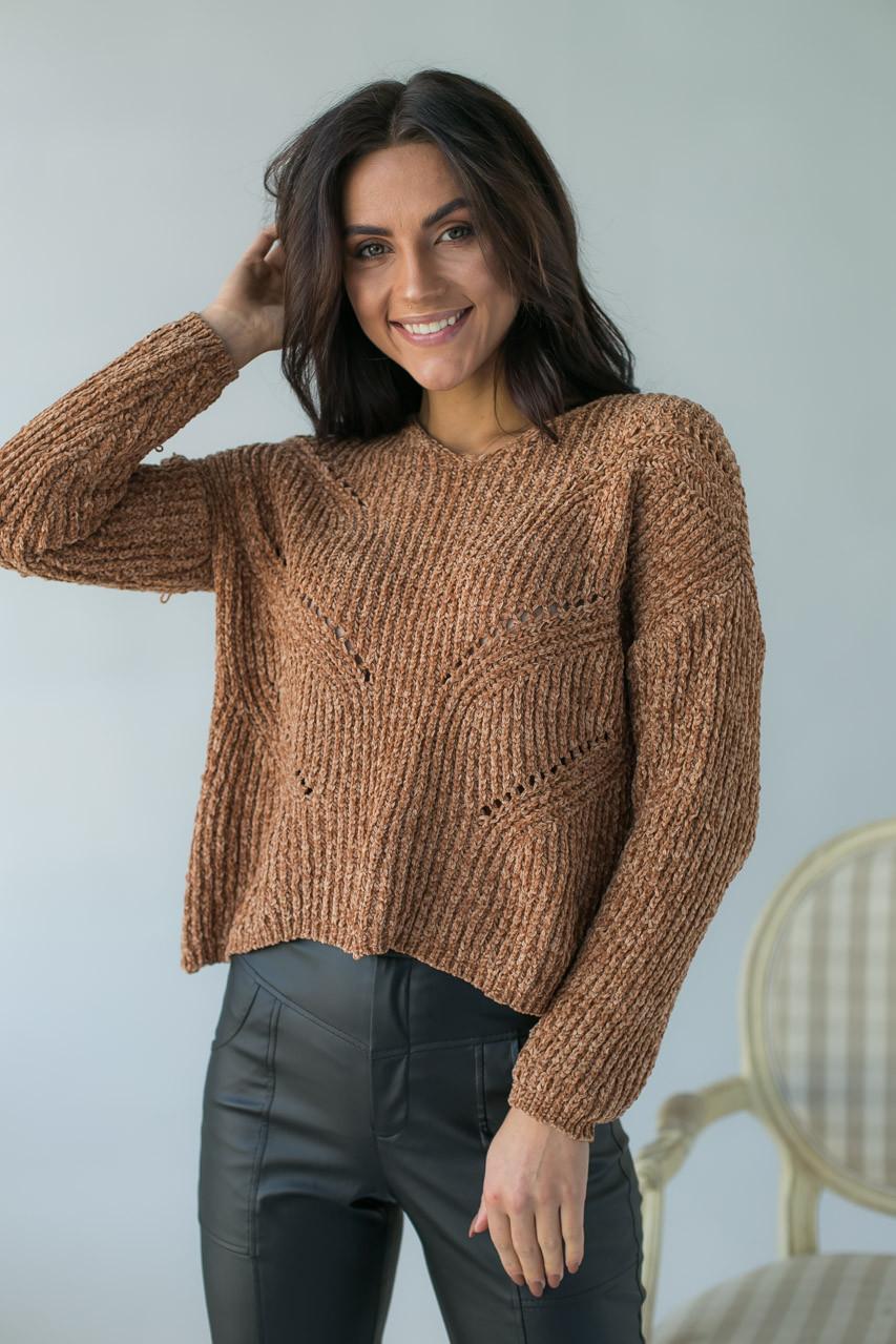 Плюшевый пуловер LUREX - св-коричн цвет, S (есть размеры)