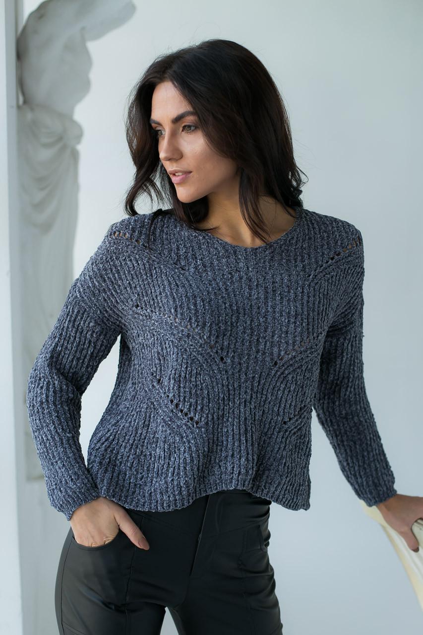 Плюшевый пуловер LUREX - серый цвет, S (есть размеры)