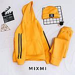Женский спортивный костюм тройка + шапка, трехнить на флисе, р-р 42-44; 44-46 (жёлтый), фото 3