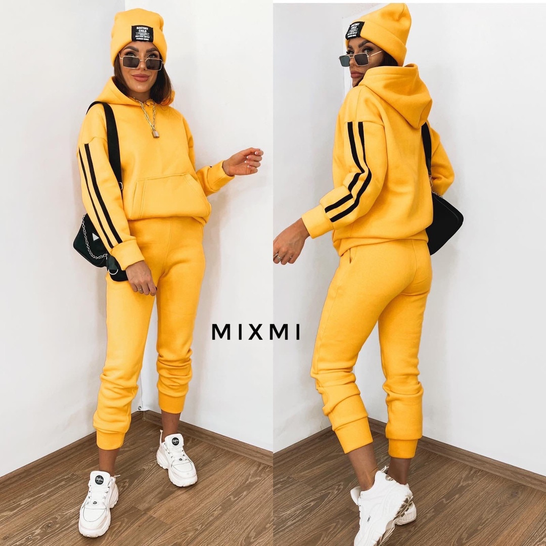 Женский спортивный костюм тройка + шапка, трехнить на флисе, р-р 42-44; 44-46 (жёлтый)