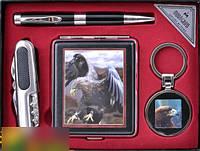 Подарочный набор (Орел) портсигар,брелок,ручка,нож