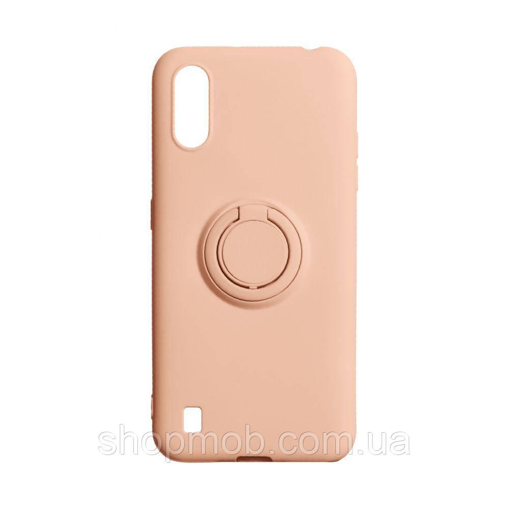 Чехол Ring Color for Samsung A01 Цвет Персиковый