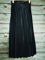 Юбка женская длинная плиссе экокожа черный M