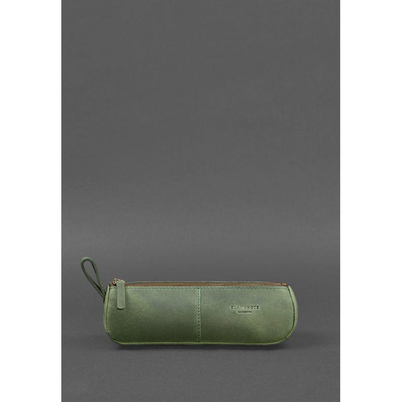 Кожаный пенал-несессер (футляр для очков) 4.0 Зеленый Crazy Horse