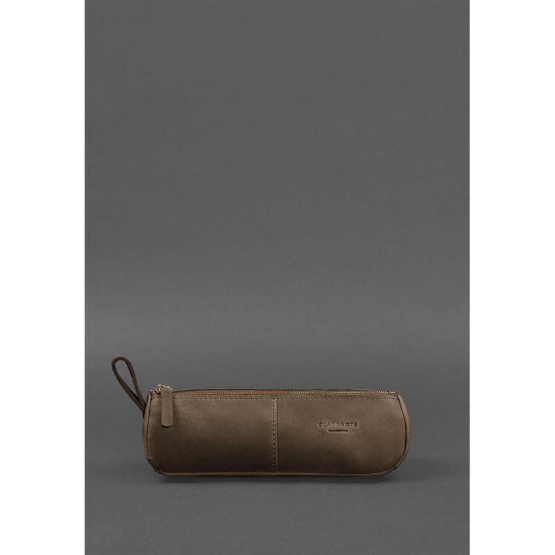Кожаный пенал-несессер (футляр для очков) 4.0 Темно-коричневый Crazy Horse
