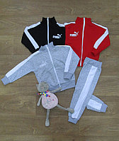 Спортивный костюм детский зимний Puma ,байка с вышивкой и лампасами на молнии