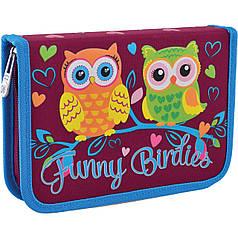 Пенал школьный на молнии для девочек с одним отворотом YES HP-03 Funny Birdies