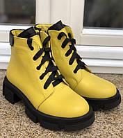 Ботинки женские желтые кожа зимние, женские ботинки зимние кожаные на шнуровке