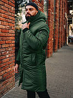 Мужская зеленая парка Снеговик
