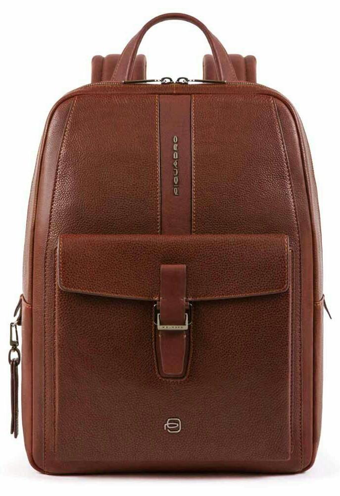 Рюкзак из натуральной кожи Piquadro Ares коричневый на 13л