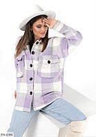 Красивая теплая женская рубашка в клетку байковая арт. 223