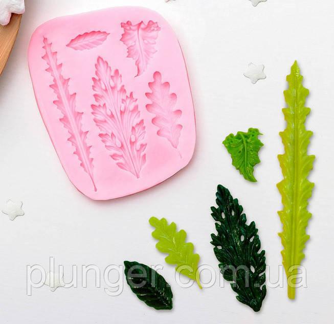 Молд кондитерський силіконовий для мастики Набір листочків