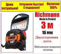 Рулетка 3 м x 16 мм, магнитный обрезиненный зацеп, нейлон покрытие Richmann C1023, фото 1
