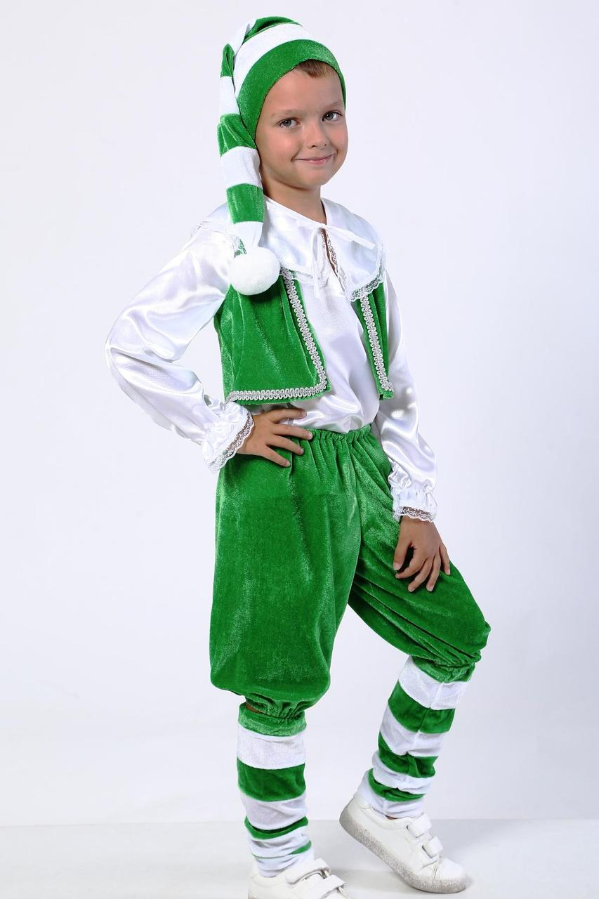 Новогодний карнавальный костюм Гном из велюра для детей от 5 до 8 лет